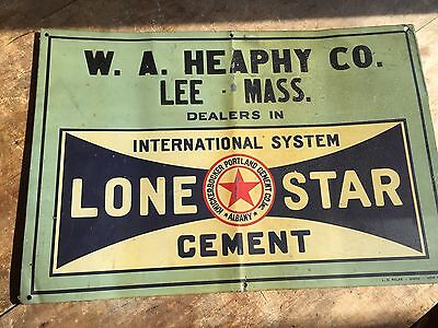 Antique Vintage Tin Tacker Lone Star Cement Sign Country Store