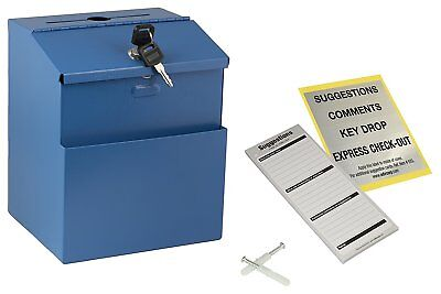 Adir Blue Wall Mountable Steel Suggestion Box W/ Lock Collection Box Charity