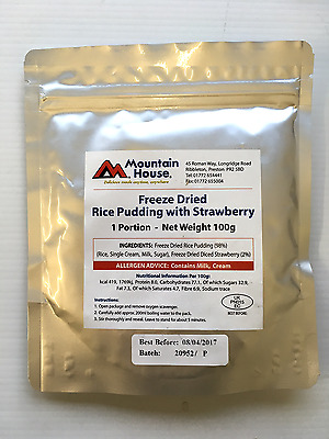 Mountain House Freeze Dried Ration Pudding - Rice Pudding with Strawberries