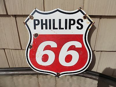 Rusty PHILLIPS 66 porcelain sign shield oil gas pump plate gasoline lubester red