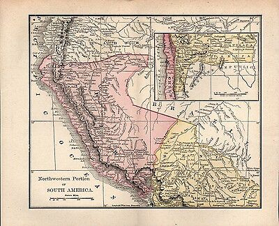 Original 1890 Rand McNally Map of the Northwestern portion of  South America