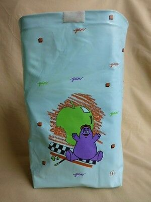 McDonald's Happy Meal Purple Grimace, Blue Lunch Bag 1988-Never Used