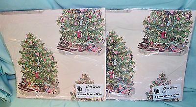 Vintage Evergreen Press Victorian CHRISTMAS TREE GIFT WRAP 6 Sheets