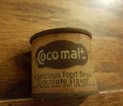 GREAT 1930's SAMPLE COCOMALT Cocoa Advertising COUNTRY STORE Tin GREAT Graphics