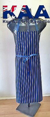 Butchers Apron Bib Navy White Vertical Pinstripe 105x80cm KINGAROY QLD Butchers