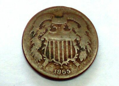 1865 TWO-CENT PIECE - 2c / Bronze