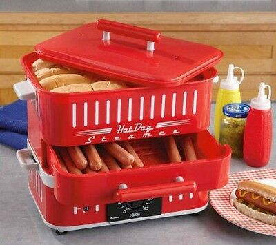 Hot Dog Steamer Cooker Machine Bun Warmer Electric Tabletop Countertop Timer Red