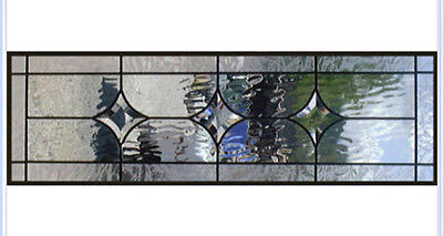 Leaded glass window / transom in all Clear bevel stars & texture glass