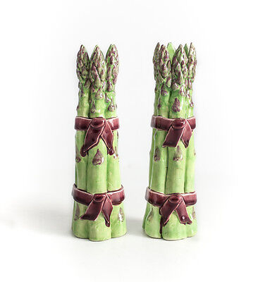 Pair of Dodie Thayer Asparagus Au Bon Gout Flower Candlesticks, Earthenware