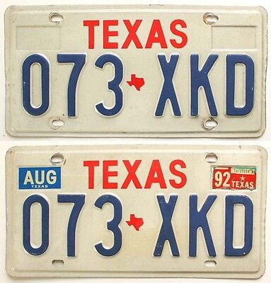"Texas 1987-1992 ""Big Red"" License Plate Pair, 073-XKD"