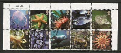 Qe2 Gb 2007 Sea Life Full Set. Block Of 10 With Margins. Good Used Off Paper.