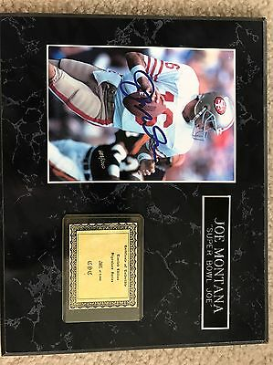 Joe Montana plaque SIGNED PICTURE And Certificate