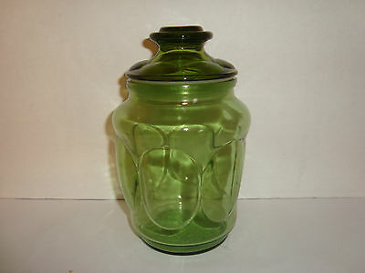 Vintage Green Glass Jar With Lid