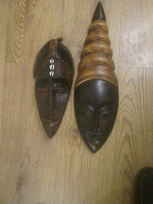 joblot of African Tribal Hand Carved Wooden Masks