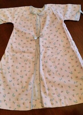 Vtg 1950s INFANT GIRLS PINK FLANNEL GOWN-RIBBON TIES