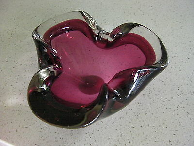 VINTAGE RETRO 60s ! SCANDINAVIAN CRANBERRY GLASS SMALL DISH