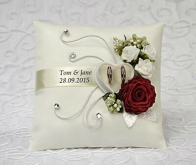 ** Personalized wedding ring cushion pillow with rings holder box 30 color *.