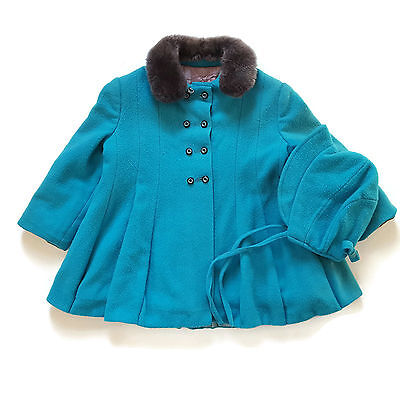 Vintage 50s Toddler Princess Coat Girls Turquoise Blue Handmade Childs Hat 3-4