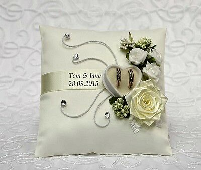 ** Personalized wedding ring cushion pillow with rings holder box 30 color ..*
