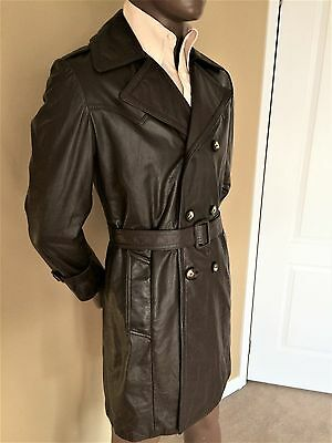 Vintage 1970's Mens Leather Long Coat Brown with Large Collar/Lapel & Belt