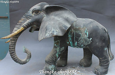 "17"" Old Chinese Antique Fengshui Bronze Lucky Elephant Elephants Animal Statue"