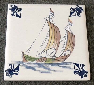 KLM Airlines Business Class Felt Back Fishing Boat Dutch Delft Tile Coaster