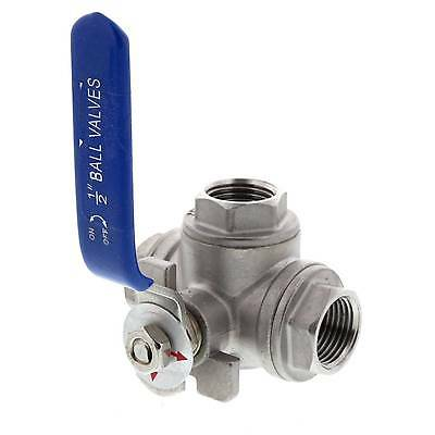 Three Way Ball Valve 1/2 Inch BSP Stainless Steel Home Brew