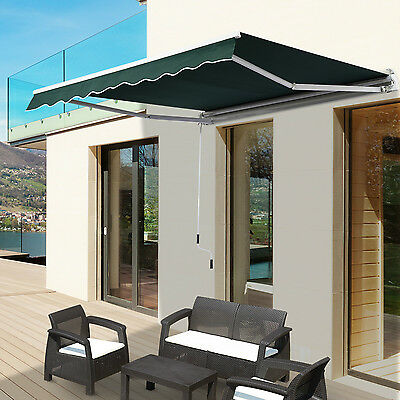 Outsunny 6.6'x8.2' Retractable Window Awning Sun Shade Shelter Canopy Green