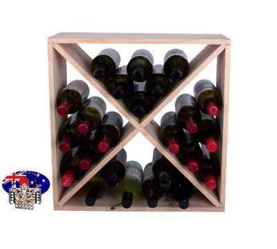 24 Bottle Wine Rack Cube - Flat Pack - PINE - Free Delivery