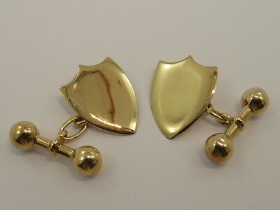 Antique Vintage 9ct Solid Yellow Gold Plain Shield Shaped Chain Gents Cufflinks