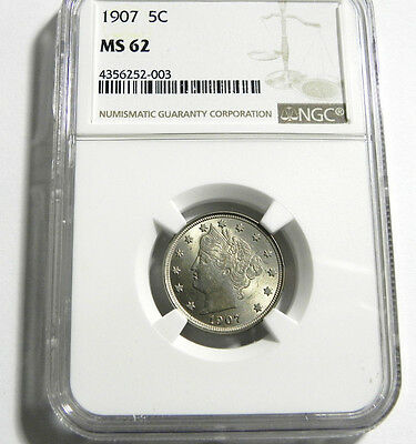 1907 Liberty Head V Nickel  MS 62 NGC