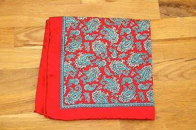 Ornate Paisley Red Blue Green 100% Silk Hand Rolled Pocket Square Handkerchief