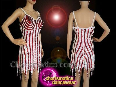 2049345e CHARISMATICO Silver and red sequinned fringed diva show girl dance dress