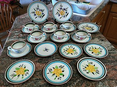 "SET 23pc STANGL POTTERY COUNTRY GARDEN 6"" & 8"" SALAD PLATES CUPS SAUCERS NJ"