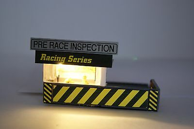 Ho Scale Slot Car / PRE RACE INSPECTION UNIT with 4 PEOPLE, LED LIGHTED