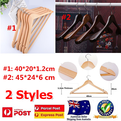 Wood Broad Shoulder Hangers Timber Deluxe Suit Non Slip Tube Two type