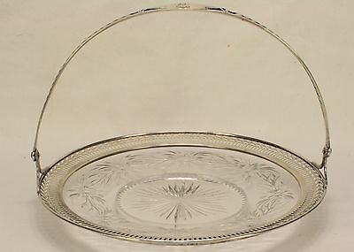 "Watson 7"" Sterling Silver & Glass Handled Tray Basket 7417- Lovely"