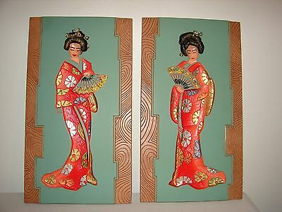 Vintage Pair Mid Century Ceramic Wall Art Stylistic Japanese Women In Kimonos