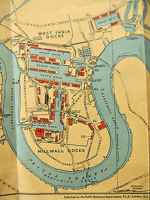 Port Of London Map Of Dock  Facts And Figures March 1964 Revision Good Condition
