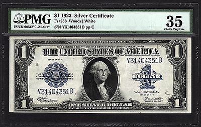 1923 $1 Silver Certificate PMG 35 Ch VF One Dollar Bank Note Fr.238 #1540124-006