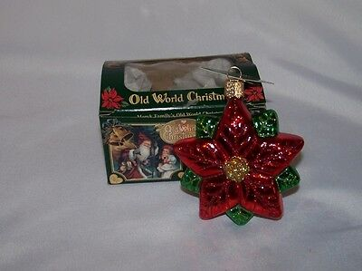 Old World Christmas Glass Poinsettia Ornament  With Tags and Box