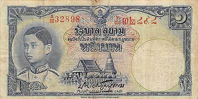 Thailand  1  Baht  ND. 1938  P 30  Series A/100  Sign.# 16  Circulated Banknote