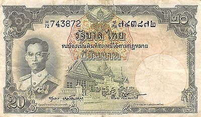 Thailand  20  Baht  ND. 1953  P 77d  Series H/72  Sign.# 40  Circulated Banknote