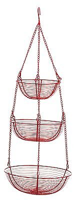 RSVP 3-Tier Red Wire Kitchen Bath Laundry Hanging Storage Organizing Baskets