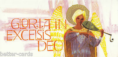 Happy Christmas Vintage 1970s Greeting Card ~ Gloria in Excelsis Deo Hymn Xmas