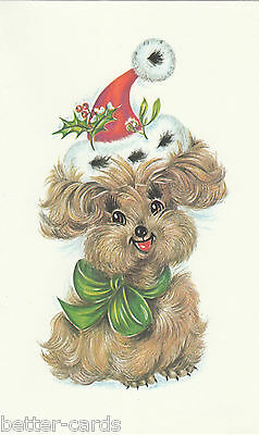 Happy Christmas Vintage 1970's Greeting Card - Merry Santa Claus Puppy Dog  ~