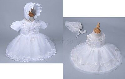 0-2Y Ivory/White Toddler Baby Girls Wedding Party Baptism Christening Gown Dress