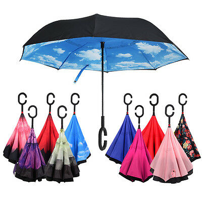Fashion Windproof C-Handle Double Upside Down Layer Inverted Folding Umbrella