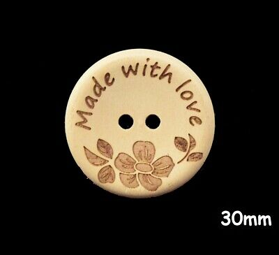 """10 Large Natural Wood """"Made with love"""" Buttons 30mm, Sewing, Craft - BU1169"""