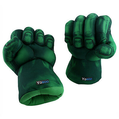 Hulk Smash Hands Fists Big Soft Plush Gloves 1 Pair Cosplay Costume Green Gifts